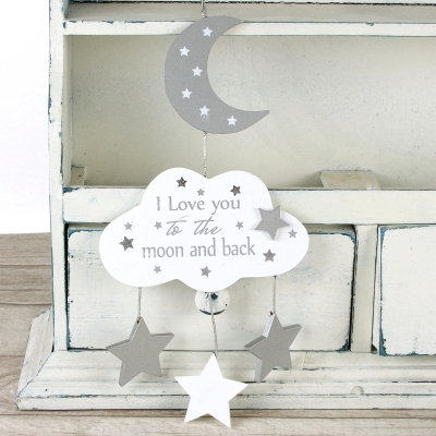 houten hanger I love you to the moon...