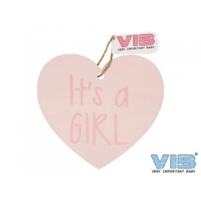 VIB Houten Bordje Hart It's A Girl Roze
